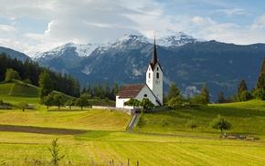 grass, mountains, church