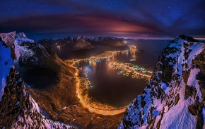 Norway, night, mountains, Lofoten Islands, cityscape, winter