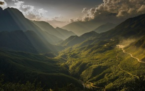 forest, valley, clouds, Vietnam, dirt road, mountains