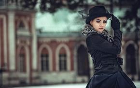 hat, gloves, urban, girl, model, girl outdoors