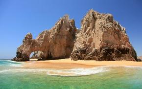 landscape, Mexico, blue, sand, arch, nature