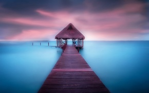sea, walkway, clouds, morning, Mexico, calm