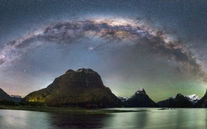 long exposure, mountains, panoramas, starry night, nature, landscape