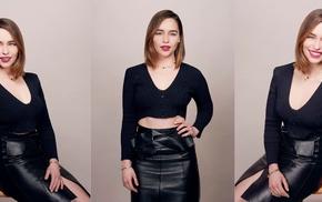 actress, girl, smiling, Emilia Clarke, leather skirts, celebrity