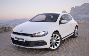white cars, car, Volkswagen Scirocco, evermotion, Volkswagen, gulf