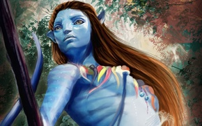 fantasy art, blue skin, Avatar