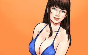 artwork, girl, orange background, big boobs, looking at viewer, simple background