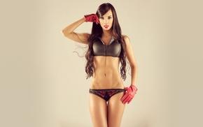 Valeria Gutierrez, girl, lingerie, simple background, model, gloves