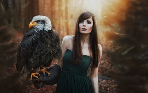 standing, forest, long hair, bangs, no bra, eagle