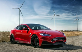 Tesla Motors, electric car, sports car, Tesla S, red, car