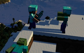mountains, snow, attack, Minecraft, zombies