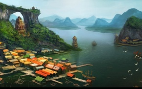 village, tower, artwork, rooftops, lake, building