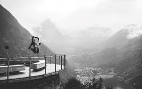 monochrome, jumping, men, mountains