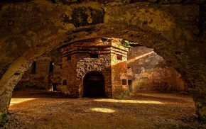 ancient, sunlight, stones, architecture, arch, bricks