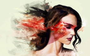 girl, abstract, closed eyes, painting, face, white  background