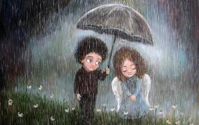 artwork, field, emotion, umbrella, angel, couple