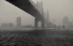 bridge, monochrome, New York City, mist, Queensboro Bridge