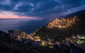 lights, clouds, city, sea, HDR, Manarola