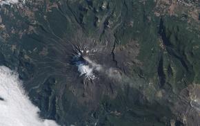 landscape, volcano, ash, snow, Chile, Villarrica