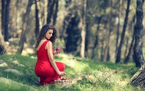 apples, red dress, girl outdoors