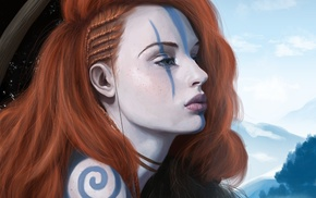 redhead, tattoo, girl, fantasy art, artwork, archer