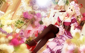 thigh, highs, anime girls, anime, Touhou, flowers