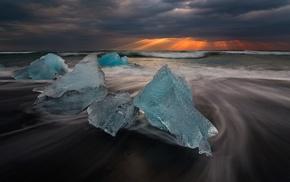 long exposure, clouds, Iceland, coast, sea, ice