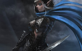 artwork, elves, sword, armor, fantasy art, warrior