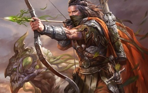 warrior, fantasy art, artwork, armor, Legend of the Cryptids, archer