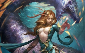 Legend of the Cryptids, magician, fantasy art, dragon, artwork, girl