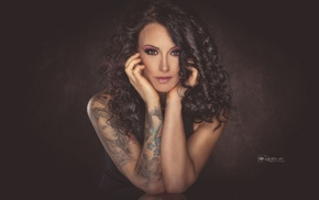 brunette, curly hair, tattoo, girl, dress, black clothing