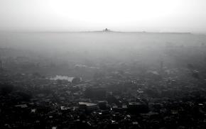 mist, monochrome, building
