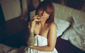 looking away, portrait, strategic covering, piercing, nose rings, tattoo