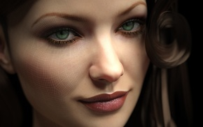 black background, CGI, green eyes, square, portrait, render