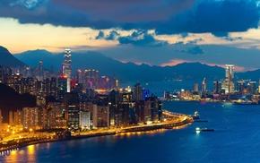 sea, urban, water, dusk, skyscraper, Hong Kong