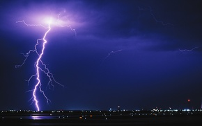 lights, night, airport, storm, lightning, urban