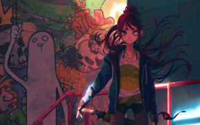 graffiti, redhead, sword, original characters, weapon