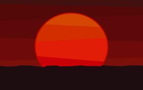 sunset, minimalism, drawing, orange