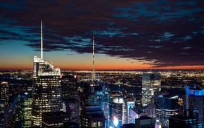 New York City, dusk, lights, photography, night, urban