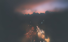 road, urban, traffic, mist, photography