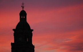 sunset, architecture, photography, church, cross, building