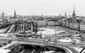 ice, water, building, Stockholm, urban, winter