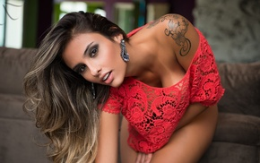 brunette, tanned, tattoo, bare shoulders, girl, Ellen Sapori