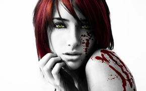 face, girl, selective coloring, blood, white background, redhead