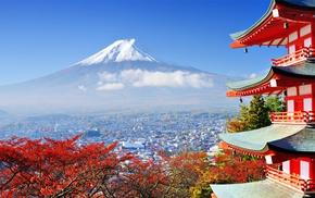 mountains, nature, trees, Mount Fuji, building, Japan