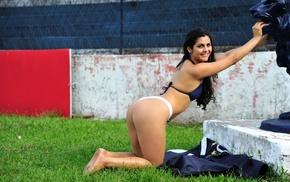 smiling, looking at viewer, bikini, ass, Andrea Ramos, girl