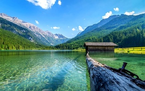 water, daylight, Austria, log, boathouses, mountains