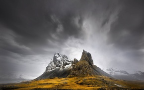 clouds, nature, winter, landscape, dark, snowy peak