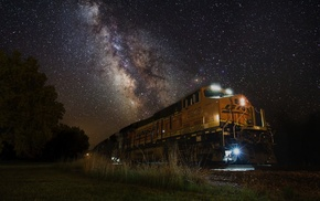 grass, machine, nature, train, landscape, galaxy