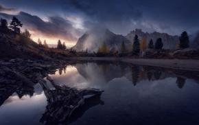 sunset, trees, fall, clouds, lake, reflection